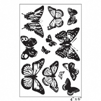 Maya Road - Singleton Clear Stamp - Ornate Vintage Butterflies Stamp Set