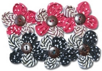 Maya Road - Trinket Blossoms Felt Pearl Blossoms Red & Black Flower