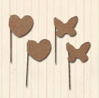 Maya Road - Trinket Pins - Vintage Kraft Hearts & Butterflies