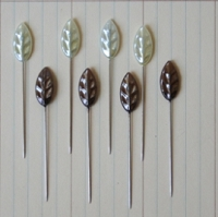 Maya Road - Trinket Pins - Vintage Leaf Pearl Cream & Brown