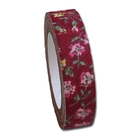 Maya Road Fabric Tape - Rose BLossoms - Burgundy Red