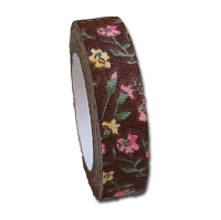 Maya Road Fabric Tape - Rose BLossoms - Chocolate Brown