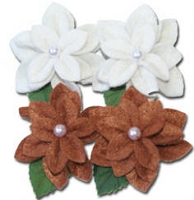 Maya Road - Trinket Blossoms Felt Pearl Blossoms White & Brown Flower