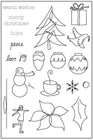 Memory Box-Large Clear Stamp Set-Doodle Christmas