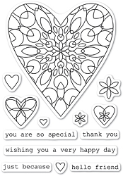 Memory Box - Open Studio Clear Stamp Sets - Wirework Hearts clear stamp set