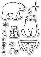 Poppy Stamps - Clear Stamp - Polar Bear Fun Clear Stamp Set
