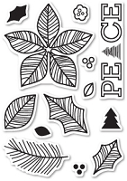 Poppy Stamps - Clear Stamp - Poinsettia Peace Clear Stamp Set