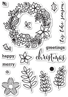 Memory Box - Open Studio Clear Stamp Set - Christmas Botanicals Clear Stamp Set