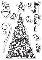 Memory Box - Open Studio Clear Stamp Set - Botanical Christmas Tree Clear Stamp Set