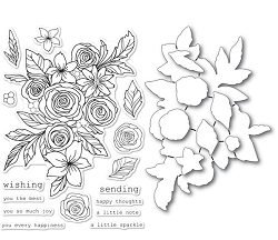 Memory Box - Clear Stamp/Die - Rose Bouquet clear stamp and die set
