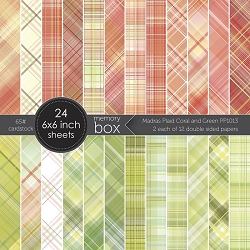 Memory Box - Madras Plaid Coral and Green 6x6 pack