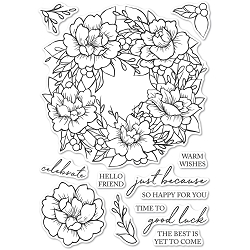 Memory Box - Clear Stamp - Peony Garden Wreath clear stamp set