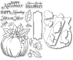 Memory Box - Clear Stamp & Die set - Halloween Pumpkin clear stamp and die set