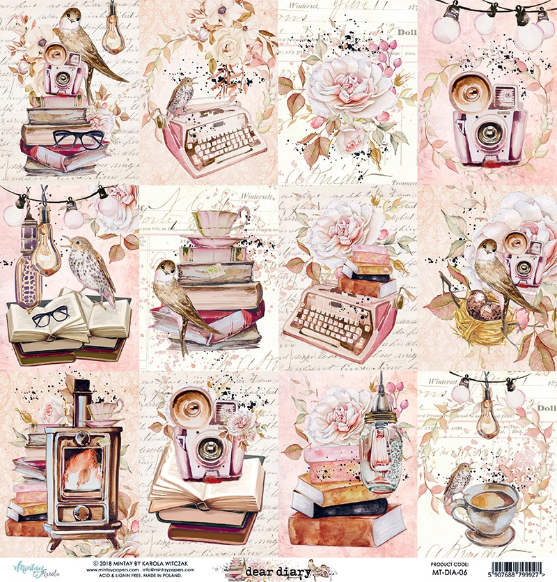Mintay by Karola. Paper Scrapbooking 12\u0175x12 dear diary