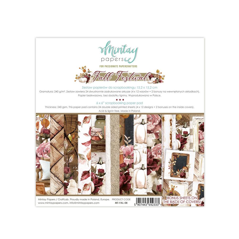 "Mintay 6/""x 6/"" Paper Pad Seasonal,Fall,Autumn Birthday,Floral,Scrapbooking New !"