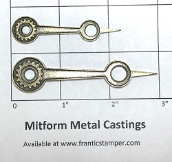 MitForm - Metal Casting - Hollow Gear Clock Hands (2 pcs)