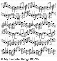 My Favorite Things - Cling Rubber Stamp - BG Musical Notes Background
