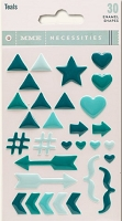 My Mind's Eye - Necessities Collection - Enamel Shapes - Teals