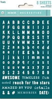 My Mind's Eye - Necessities Collection - Tiny Word / Alpha Stickers - Teals