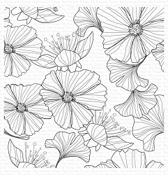 My Favorite Things - Cling Rubber Stamp - Loosely Lined Flowers Background