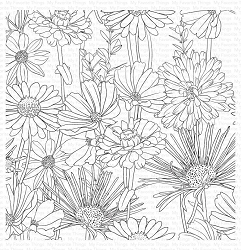 My Favorite Things - Cling Rubber Stamp - Flower Field Background