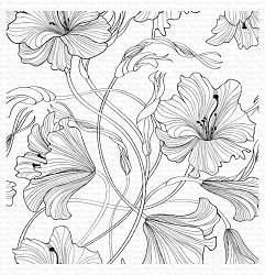 My Favorite Things - Cling Rubber Stamp - Harmonious Hibiscus Background