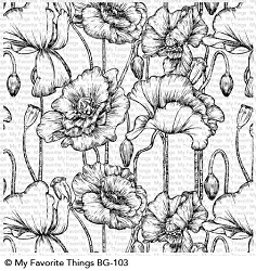 My Favorite Things - Cling Rubber Stamp - BG Poppies Background