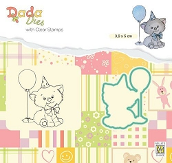 Nellie Snellen's - Dada Birthday Kitten Stamp and Die Set