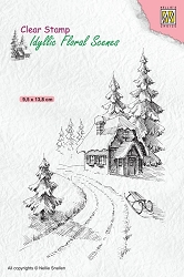 Nellie Snellen's - Clear Stamp - Wintery House Idyllic Floral Scene