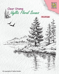 Nellie Snellen's - Clear Stamp - Wintery Water's Edge Idyllic Floral Scene