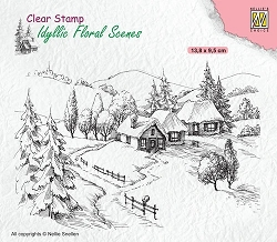 Nellie Snellen's - Clear Stamp - Wintery Idyllic Floral Scene