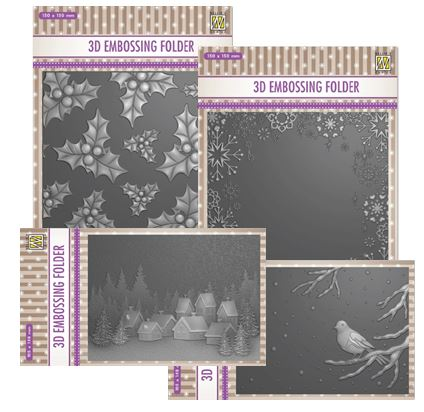 Nellie's Choice - 4 Christmas 3D Embossing Folders