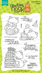 Newton's Nook - Clear Stamp - Newton Loves Cake