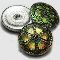 Nirvana Beads - Czech Glass Button - 27mm Green/Yellow/Pink Vitral Wheel