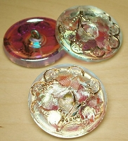 Nirvana Beads - Czech Glass Button - 27mm Iridescent/Pearl Flower (1 button)