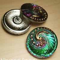 Nirvana Beads - Czech Glass Button - 27mm Magenta/Green Spiral