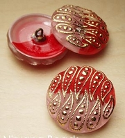 Nirvana Beads - Czech Glass Button - 22mm Red/Pink/Gold Paisley