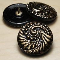 Nirvana Beads - Czech Glass Button - 27mm Black/Gold Spiral
