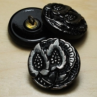 Nirvana Beads - Czech Glass Button - 20mm Black/Silver Leaves