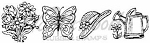 Northwoods Wood-Mounted Rubber Stamp - Spring Flowers, Hat & Butterfly Cube