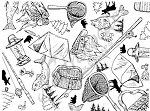 Northwoods Wood-Mounted Rubber Stamp Fishing & Camping Background