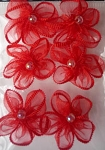 Offray Ribbon Embellishments - Sheer Pearl Flower - Red