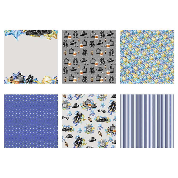 """THE PAPER BOUTIQUE Decorative Papers FOR HIM 36 Sheets 6 Designs 6/"""" PB1092"""