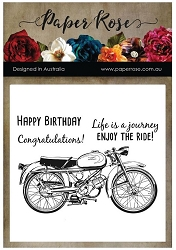 Paper Rose - Clear Stamp - Vintage Motorcycle