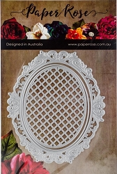 Paper Rose - Cutting Die - Victorian Oval Lattice Frame