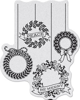 Penny Black - Slapsticks - Cling Stamp - Wreath Celebration