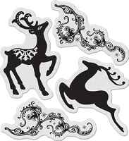 Penny Black - Slapsticks - Cling Stamp - Dancing Deers