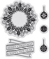 Penny Black - Slapsticks - Cling Stamp - Merry & Happy