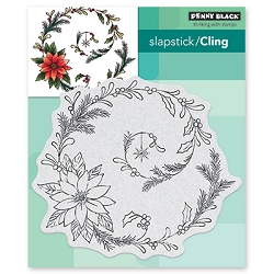 Penny Black - Slapstick Cling Stamp - Poinsettia Spiral