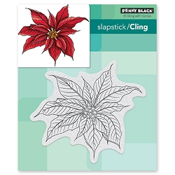 Penny Black - Slapstick Cling Stamp - Christmas Poinsettia